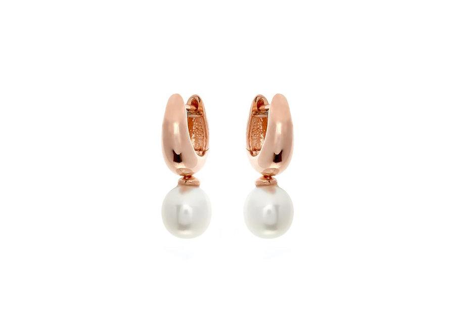 ROSE GOLD HOOP & FRESH WATER PEARL EARRINGS (E457-RG)