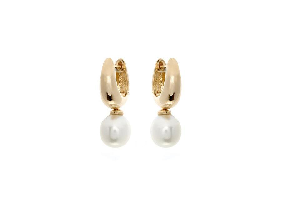 GOLD HOOP & FRESH WATER PEARL EARRINGS (E457-GP)