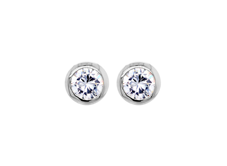 BELLE SILVER CUBIC ZIRCONIA STUD EARRINGS (E42-RH)