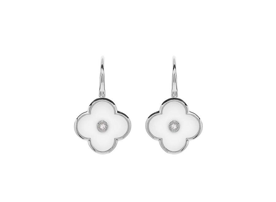 FLOWER WHITE & SILVER EARRING (E210-WRH)