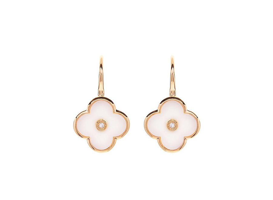 FLOWER WHITE & GOLD EARRING (E210-WGP)