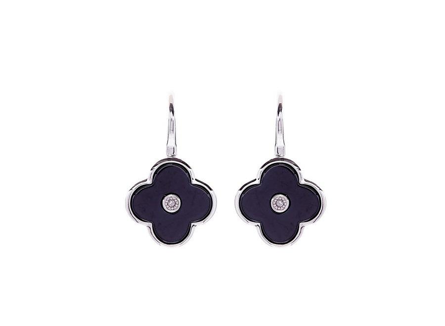 FLOWER BLACK & SILVER EARRING (E210-BRH)