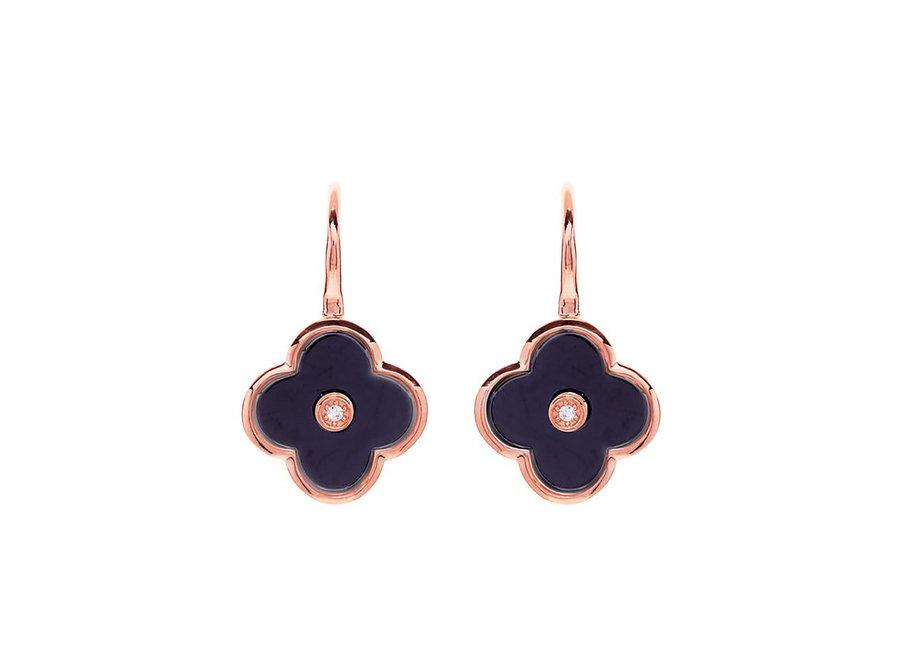 FLOWER BLACK & ROSE GOLD EARRING (E210-BRG)