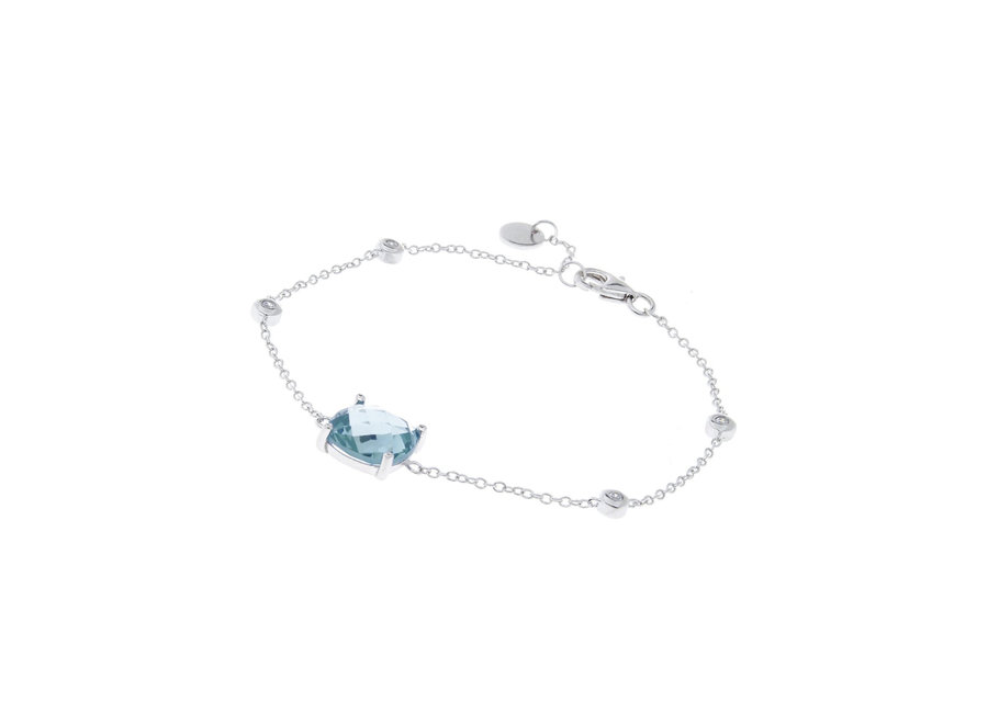 CLEAR & BLUE CUBIC ZIRCONIA BRACELET (B783-B )