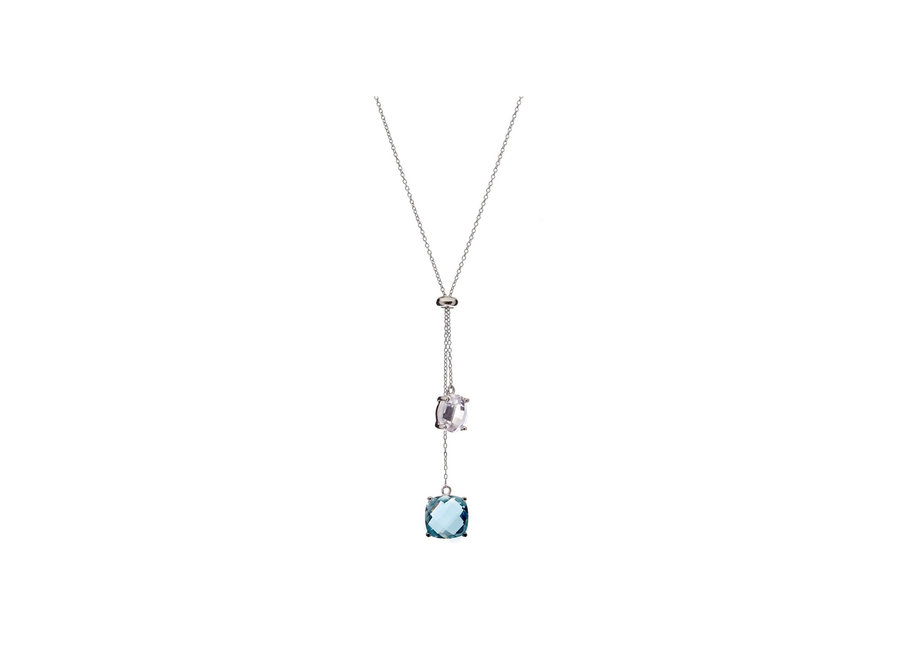 CLEAR & BLUE CUBIC ZIRCONIA NECKLACE (N78-RH)