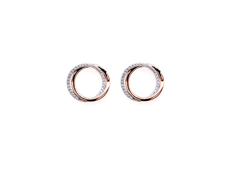 TWO TONE CIRCLE EARRINGS (E9713-RG )