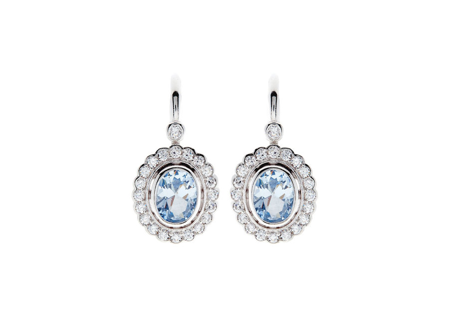 ELIZABETH OVAL BLUE CUBIC ZIRCONIA EARRINGS