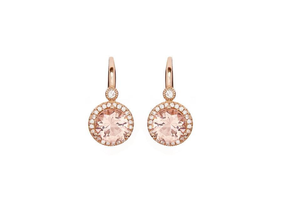 LULU PINK EARRINGS ON ROSE GOLD FRENCH HOOK (E7661-RG)