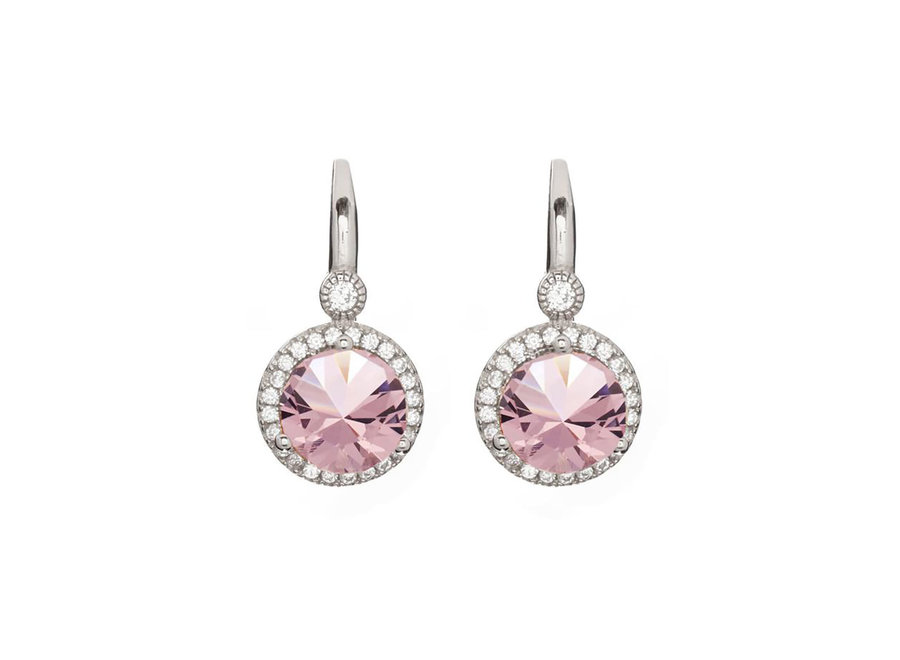 LULU PINK EARRINGS ON SILVER FRENCH HOOK (E7661-MRH)