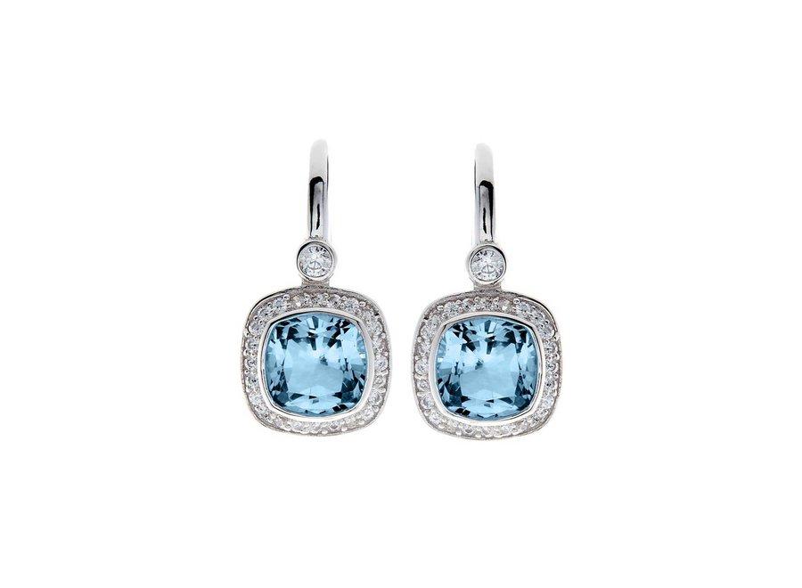PHOEBE BLUE & CUBIC ZIRCONIA SQUARE EARRINGS (E7540-BL)