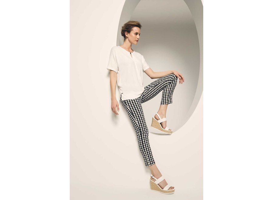 GINGHAM JACQUARD ANKLE PANTS