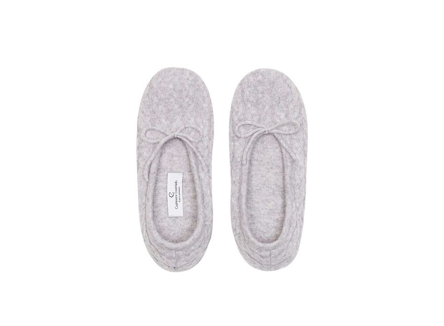 CASHMERE CABLE SLIPPERS