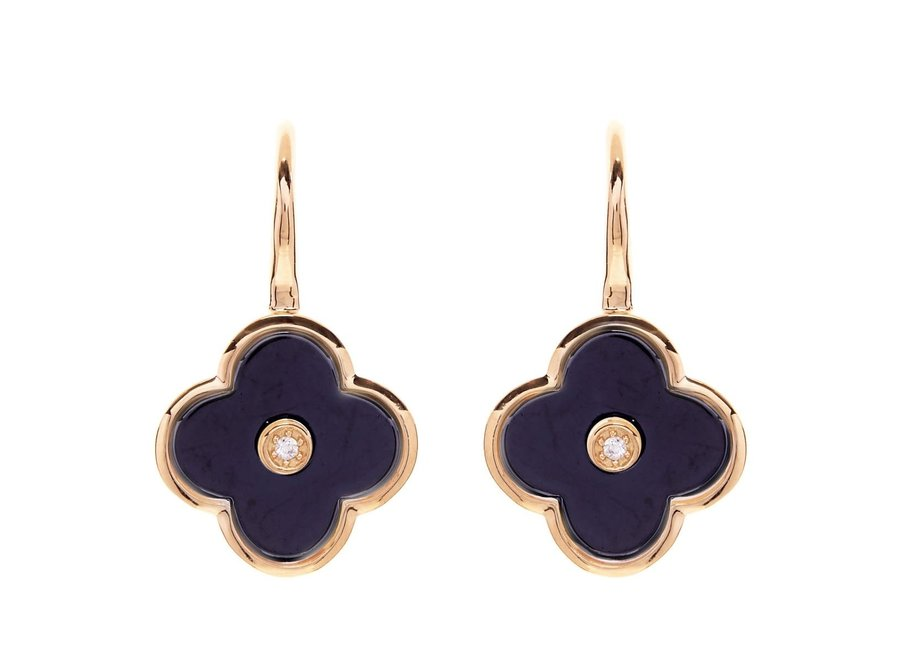 FLOWER BLACK & GOLD EARRING (E210-BLGP)