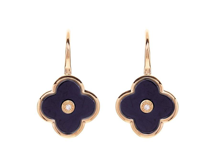 FLOWER BLACK & GOLD EARRING (E210-BLGP)