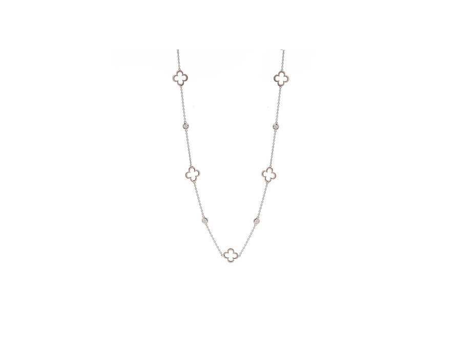 HOLLOW FLOWER SILVER NECKLACE (N24-RH)