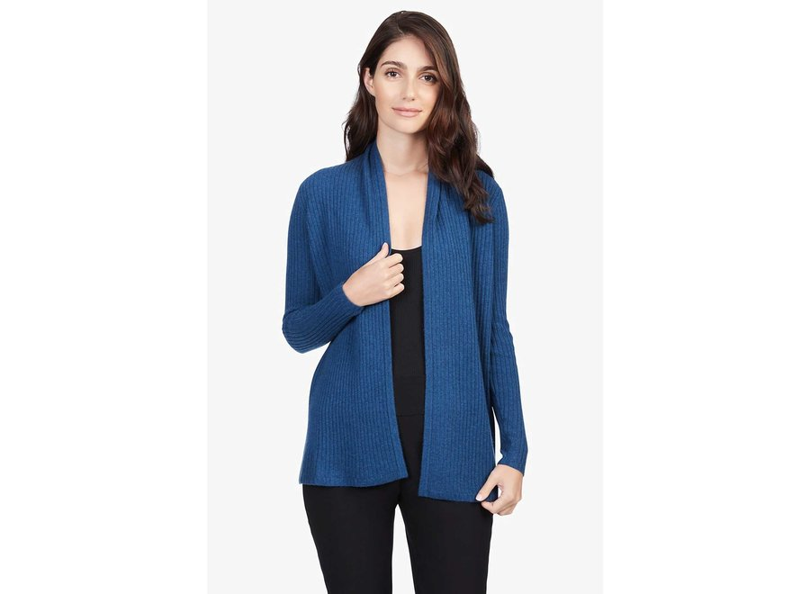 RIBBED OPEN CARDI