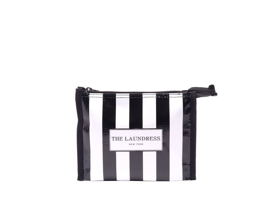 THE LAUNDRESS BLACK & WHITE STRIPED TRAVEL POUCH