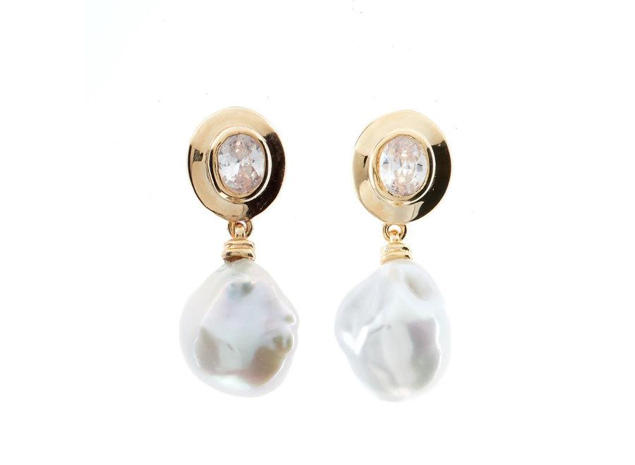 KESHI GOLD PEARL EARRINGS (E176-GP)