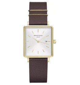 Rosefield Montre Boxy Cuir Aubergine