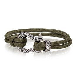 A.R.Z Steel Bracelet - Corde vert armée et verrou en acier inoxydable