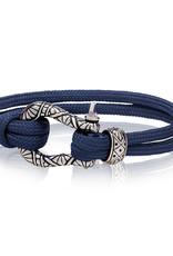 A.R.Z Steel Bracelet - Corde bleu marine et verrou en acier inoxydable