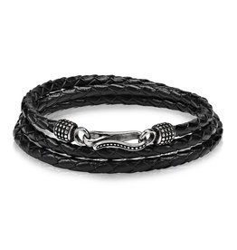 A.R.Z Steel Bracelet - Cuir noir tressé arrondi, rang triple et attache en acier inoxydable