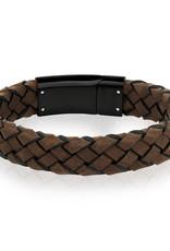 A.R.Z Steel Bracelet - Cuir brun tressé et fermoir en acier inoxydable noir