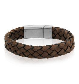 A.R.Z Steel Bracelet - Cuir tressé brun et fermoir en acier inoxydable