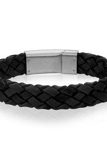 A.R.Z Steel Bracelet - Cuir noir tressé et fermoir en acier inoxydable