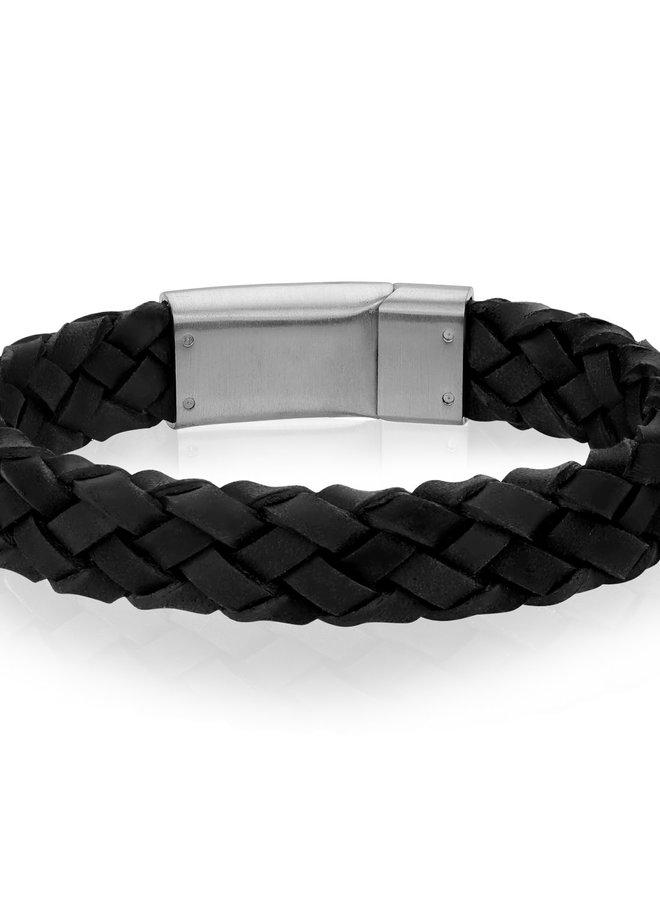 Bracelet - Cuir noir tressé et fermoir en acier inoxydable
