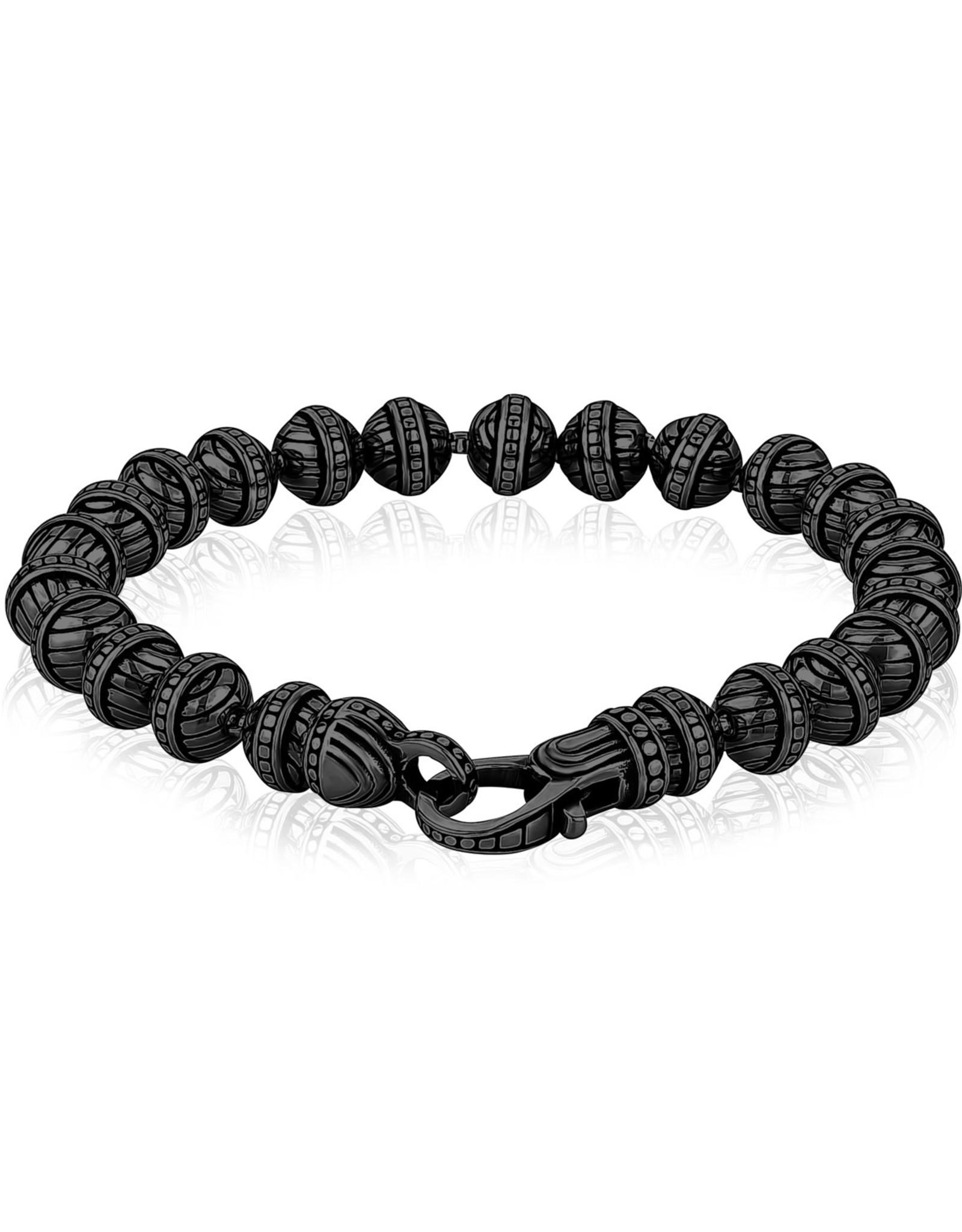 A.R.Z Steel Bracelet - Billes noir 6mm en acier inoxydable