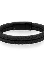 A.R.Z Steel Bracelet - Cuir noir tressé arrondi, rang double et fermoir en acier inoxydable noir