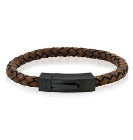 A.R.Z Steel Bracelet - Cuir brun tressé arrondi, fermoir en acier inoxydable noir