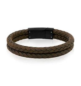 A.R.Z Steel Bracelet - Cuir brun tressé arrondi, rang double et fermoir en acier inoxydable noir