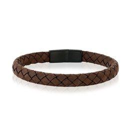 A.R.Z Steel Bracelet - Cuir brun tressé mince 8mm et fermoir en acier inoxydable noir