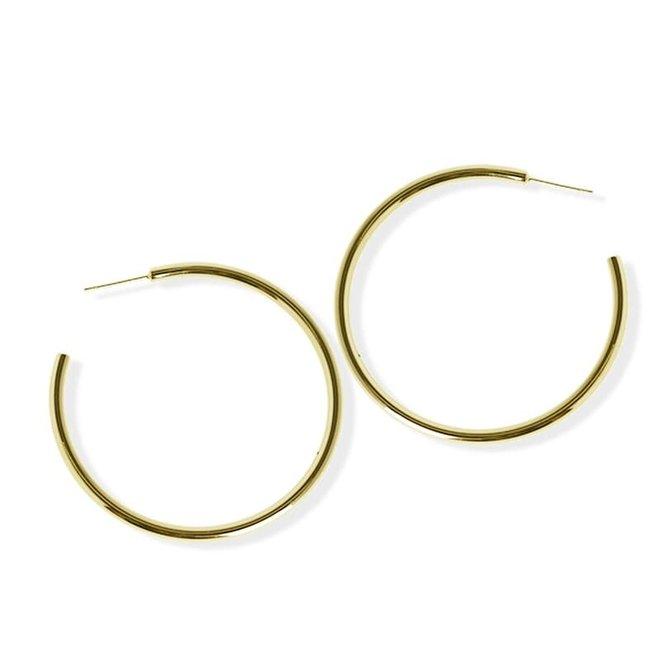 Boucles d'oreilles anneaux minces 50mm - Laiton plaqué