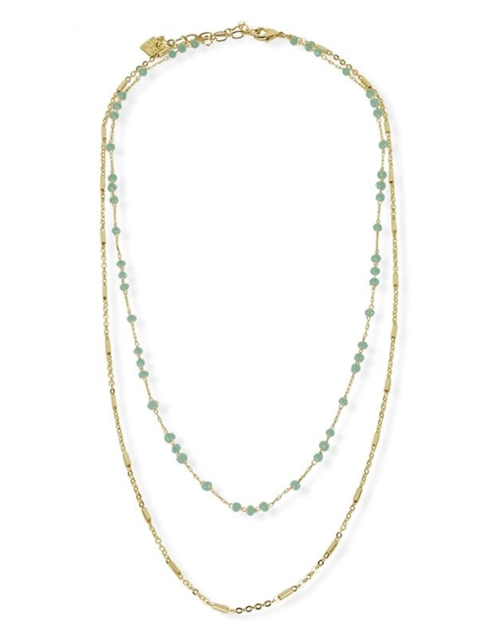 Fab accessories Collier - Rang double et cristaux en laiton plaqué or