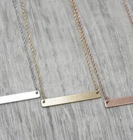 Fab accessories Collier - Plaque horizontale en acier inoxydable or rose