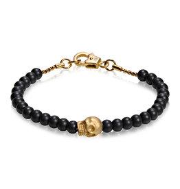 A.R.Z Steel Bracelet - Billes noir et attache en acier inoxydable or