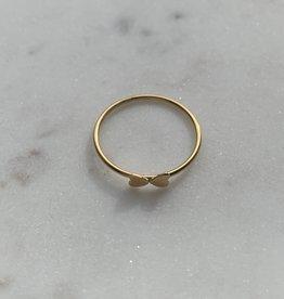 Le Petit bijou de Paris Bague - Fine double coeur doublé or