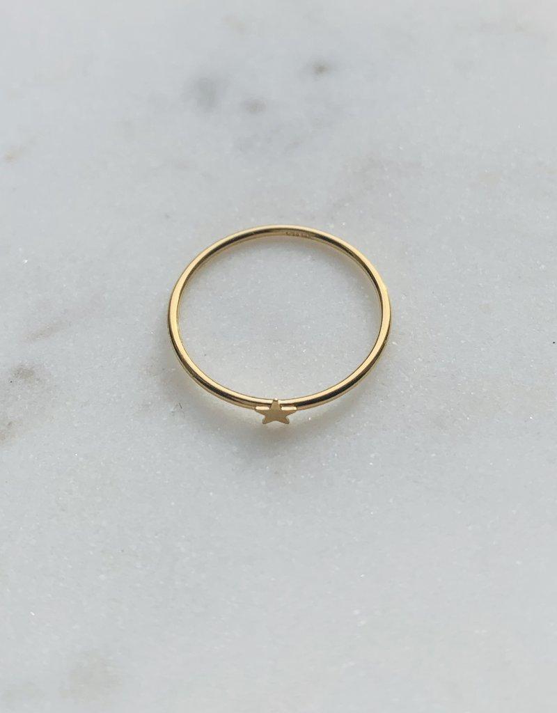Le Petit bijou de Paris Bague - Jonc étoile fin doublé or