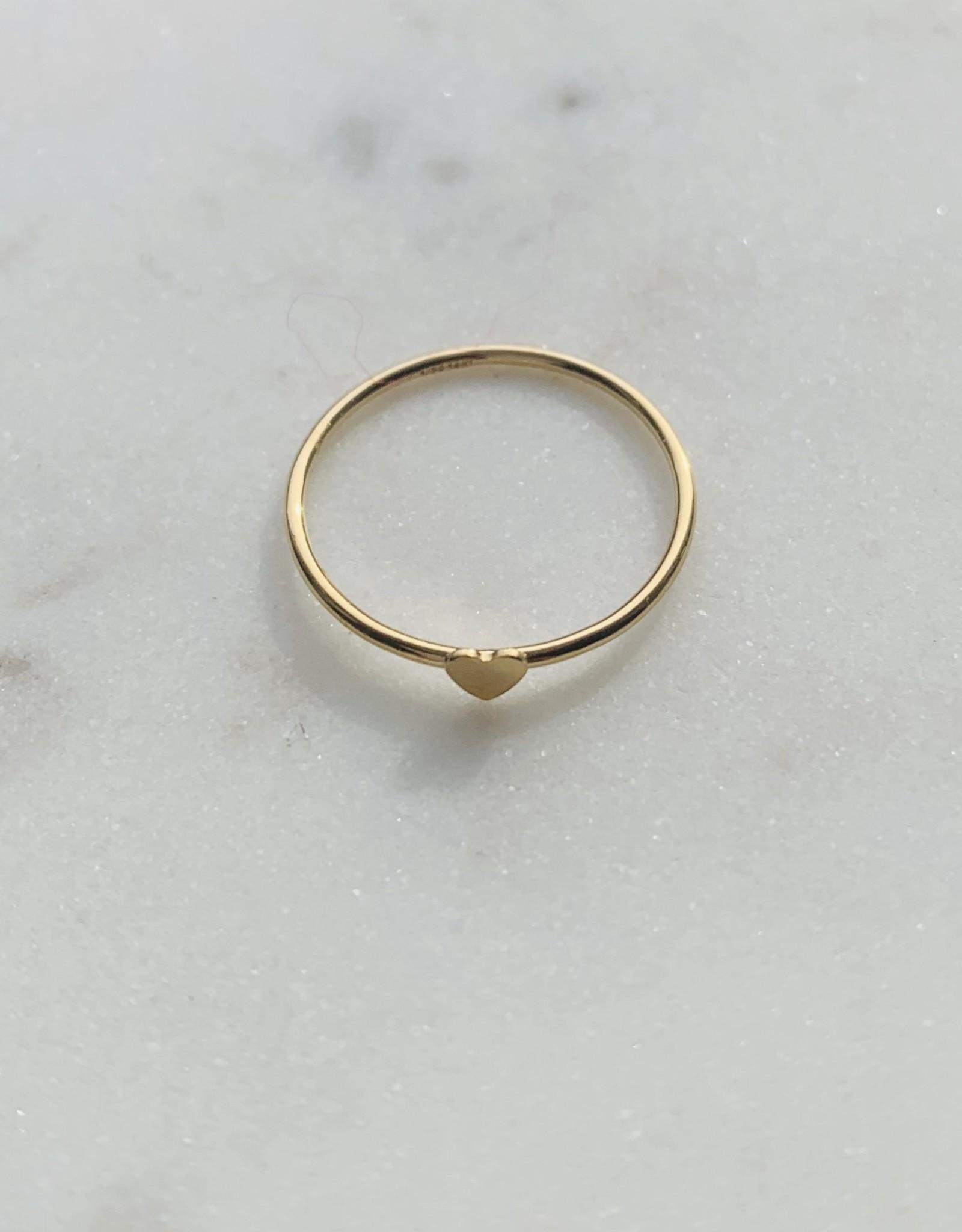 Bague - Extra fine avec petit coeur doublé or