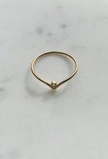 Bague - Pointu avec zircon doublé or