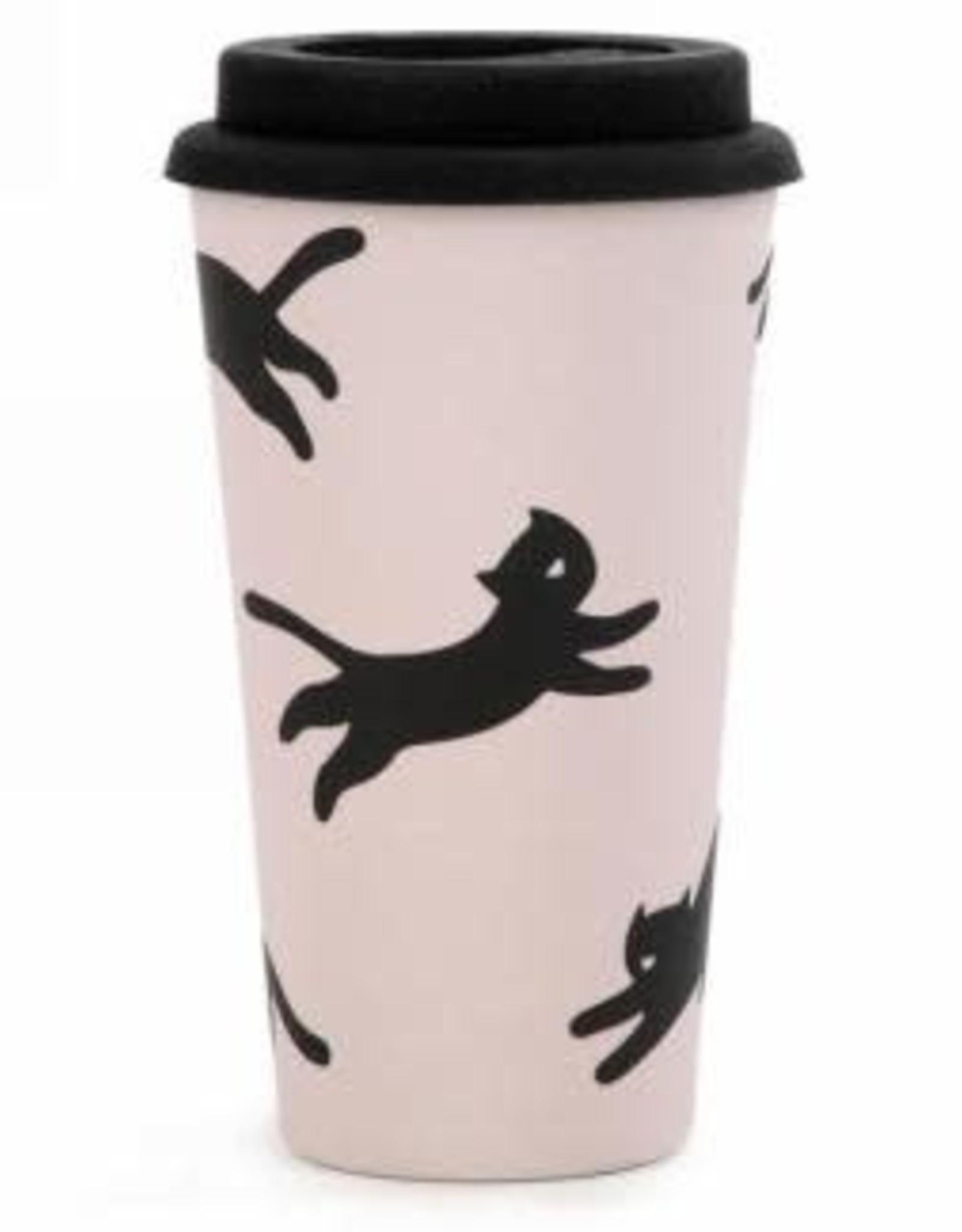 Tasse de voyage en Bambou - Chats noirs