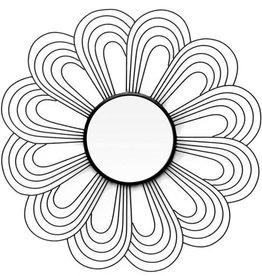 Miroir en métal - Fleur doré & noir