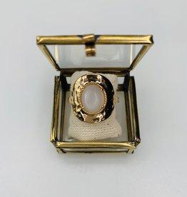 Bague - Ovale nacre de perle plaqué or 18 K