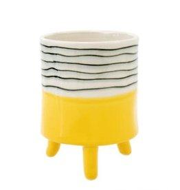Cache-pot sur pieds jaune