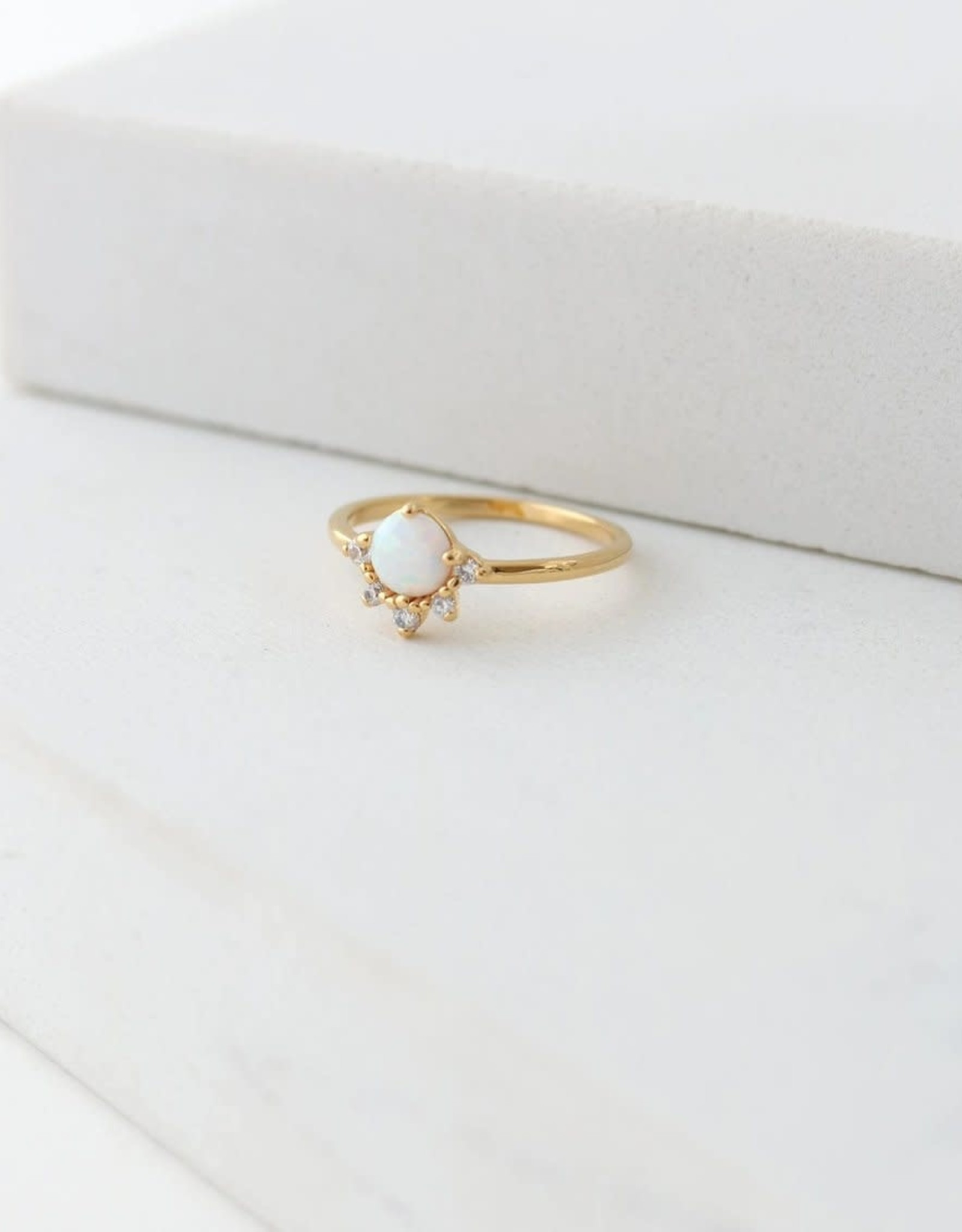 Lover's tempo Bague - Juno or opale blanche taille 7