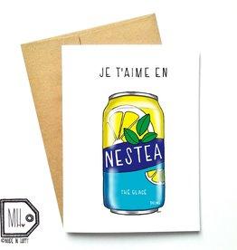 Carte de souhaits - Je t'aime en Nestea