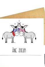 Made in Happy Carte de souhait - Âne soeur